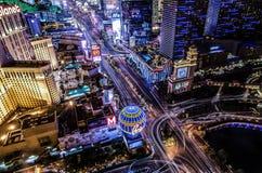 Flyg- sikt av den Las Vegas remsan royaltyfria bilder