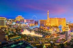 Flyg- sikt av den Las Vegas remsan i Nevada arkivfoto