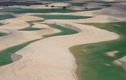 Flyg- sikt av den Lencois Maranhenses nationalparken, Maranhao, Brasilien arkivfoton