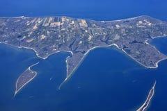Flyg- sikt av den lilla ön Key Biscayne Royaltyfri Bild