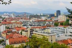Flyg- sikt av den Ljubljana staden Royaltyfri Fotografi