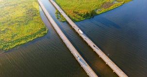 Flyg- sikt av den mellanstatliga bron för 10 huvudväg Arkivfoto