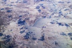 Flyg- sikt av den montana sjön Fotografering för Bildbyråer