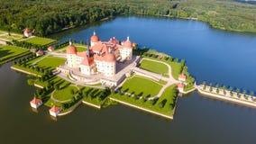 Flyg- sikt av den Moritzburg slotten, Sachsen - Tyskland Fotografering för Bildbyråer