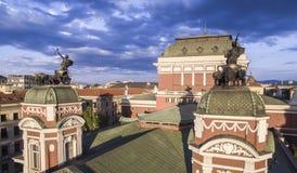 Flyg- sikt av den nationella teatern, Sofia, Bulgarien arkivfoton