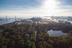 Flyg- sikt av den nya stadionZenit arenan arkivbilder
