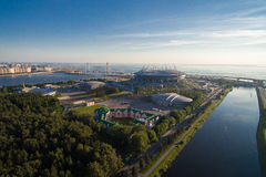 Flyg- sikt av den nya stadionZenit arenan Royaltyfri Fotografi