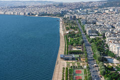 Flyg- sikt av den nya stranden av Thessaloniki, Grekland Royaltyfria Foton
