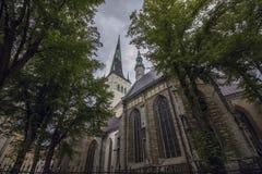 Flyg- sikt av den Oleviste StOlaf kyrkan i gammal stad av Tallinn royaltyfri foto