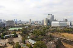 Flyg- sikt av den Osaka staden Arkivfoton