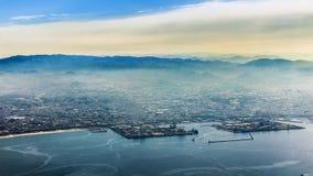 Flyg- sikt av den Osaka staden Royaltyfri Bild