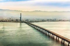 Flyg- sikt av den Osaka staden Arkivbilder
