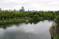 Flyg- sikt av den Osaka staden från den Osaka slotten Royaltyfria Foton