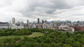 Flyg- sikt av den Osaka staden från den Osaka slotten Royaltyfri Foto