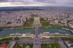 Flyg- sikt av den Paris staden och Trocadero Royaltyfri Fotografi