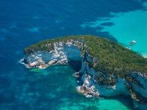 Flyg- sikt av den Paxos ön Arkivfoton
