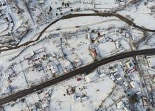 Flyg- sikt av den Petru Voda byn i Rumänien royaltyfria bilder