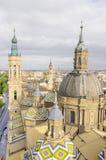 Flyg- sikt av den Pilar domkyrkan för el Fotografering för Bildbyråer