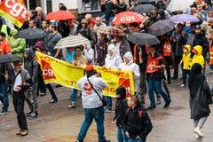 Flyg- sikt av den politiska marschen under fransk rikstäckande dag ag Royaltyfri Bild