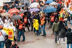 Flyg- sikt av den politiska marschen under fransk rikstäckande dag ag Fotografering för Bildbyråer