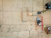 Flyg- sikt av den praktiska gaffeltruckutbildningskursen arkivbilder