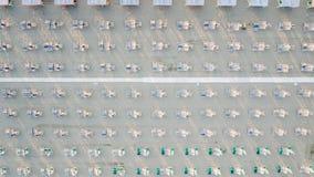 Flyg- sikt av den privata stranden Arkivfoto