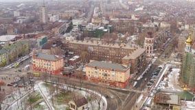 Flyg- sikt av den provinsiella staden för vinter mariupol arkivfilmer