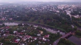 Flyg- sikt av den Ruza staden stock video