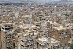 Flyg- sikt av den Sanaa staden, Sanaa, Yemen Arkivbilder
