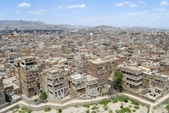 Flyg- sikt av den Sanaa staden, Sanaa, Yemen Arkivfoto