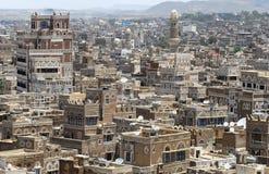 Flyg- sikt av den Sanaa staden, Sanaa, Yemen Arkivbild