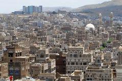 Flyg- sikt av den Sanaa staden, Sanaa, Yemen Arkivfoton