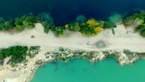 Flyg- sikt av den sandiga flätad tråden för hav arkivfilmer