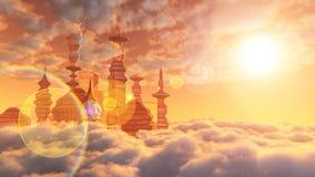 Flyg- sikt av den Sci Fi staden med moln Royaltyfri Bild