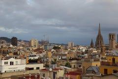 Flyg- sikt av den flyg- sikten för Barcelona stad av den Barcelona staden med royaltyfria foton