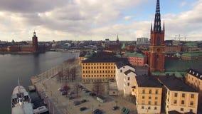 Flyg- sikt av den Stockholm staden stock video