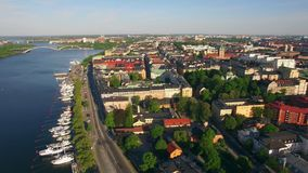 Flyg- sikt av den Stockholm staden arkivfilmer