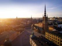 Flyg- sikt av den Stockholm staden Arkivbild