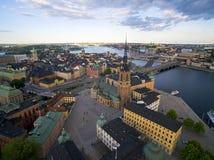 Flyg- sikt av den Stockholm staden Royaltyfria Bilder