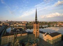Flyg- sikt av den Stockholm staden Royaltyfri Foto