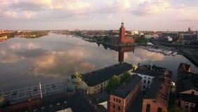 Flyg- sikt av den Stockholm staden lager videofilmer