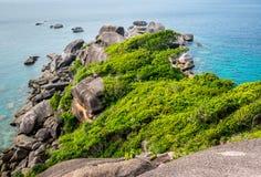 Flyg- sikt av den tropiska ön, koh Similan, Thailand Royaltyfri Fotografi