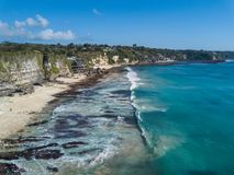 Flyg- sikt av den tropiska stranden Arkivbilder