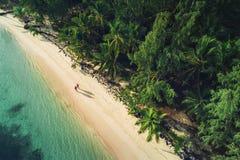 Flyg- sikt av den tropiska stranden, Dominikanska republiken Royaltyfri Fotografi