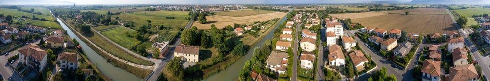 Flyg- sikt av den Tuscan staden - panorama- 360 grader bild Royaltyfria Foton