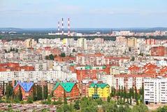Flyg- sikt av den Ufa staden Arkivfoto