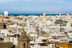 Flyg- sikt av den västra delen av Cadiz fotografering för bildbyråer