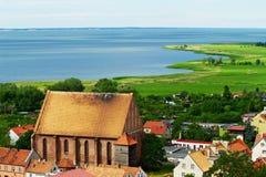 Flyg- sikt av den Vistula lagun Arkivbild