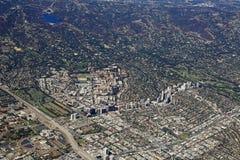 Flyg- sikt av den Westwood byn, Kalifornien arkivfoto