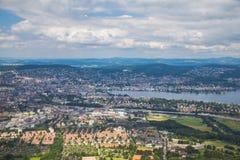 Flyg- sikt av den Zurich staden Arkivbild